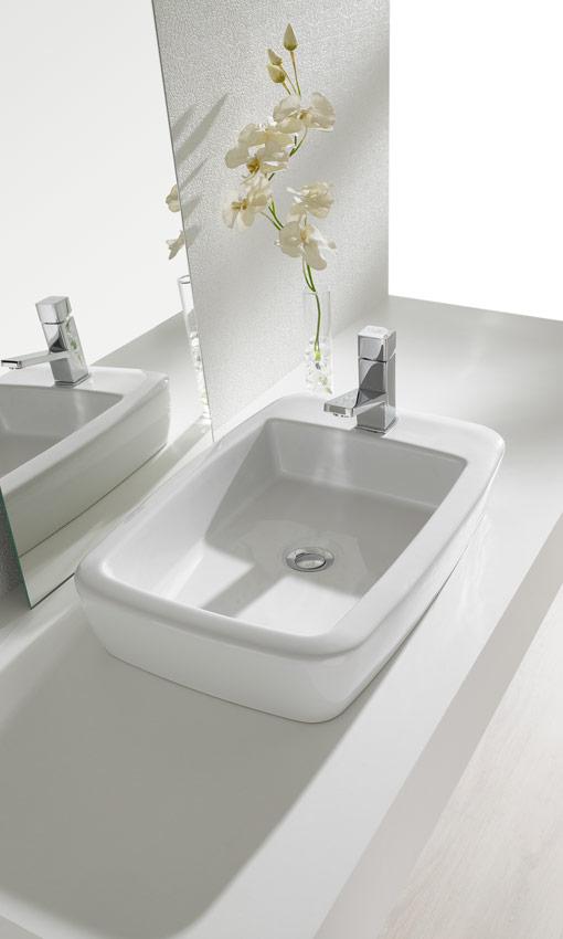 Mira qu bonitos lavabos sobre encimera foto 3 for Lavabos cuadrados sobre encimera