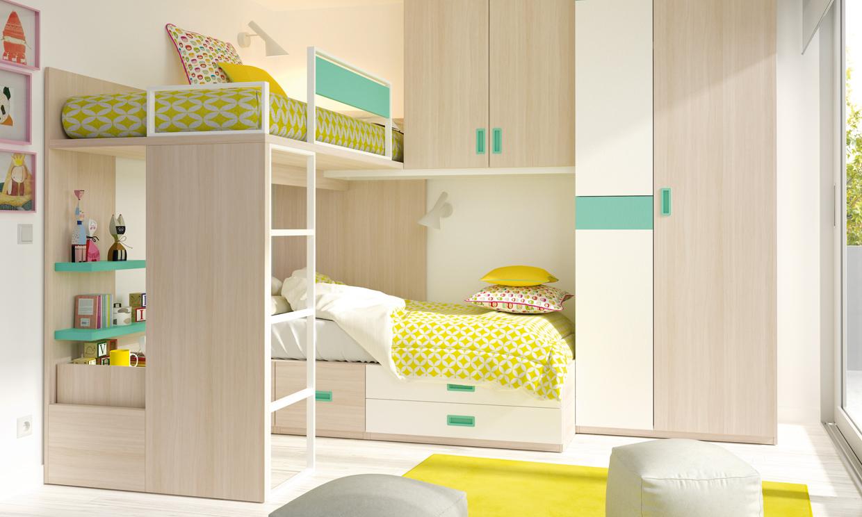 Dormitorios infantiles ideas para una buena distribuci n del espacio foto - Dormitorios infantiles de dos camas ...