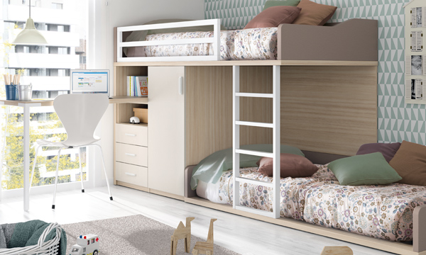 Dormitorios infantiles compatidos ideas para una buena - Habitacion con literas para ninos ...