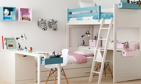 Dormitorios infantiles compatidos ideas para una buena for Distribucion habitacion juvenil