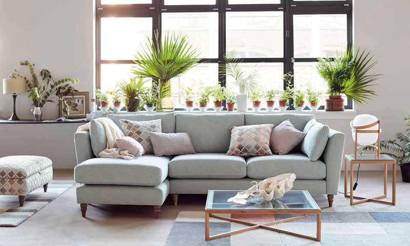 Salón con sofá en color gris y muchas plantas de interior