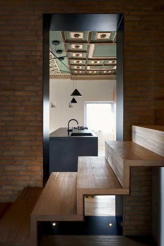 Escalera de madera de diseño moderno