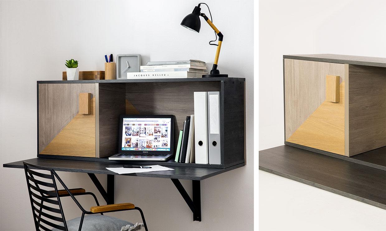 Construye un escritorio de pared con espacio de almacenaje