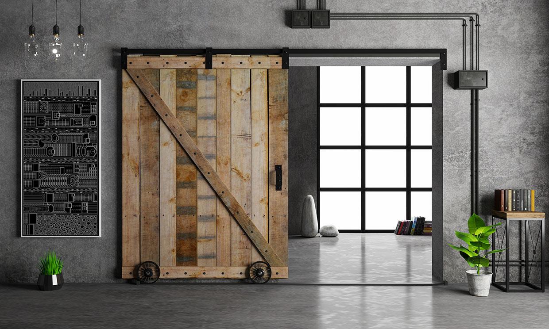 Cómo construir una puerta corredera de 'estilo granero' con madera y metal