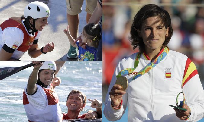 Maialen Chourraut celebra su oro en Río con los besos de su marido y su hija de 3 años
