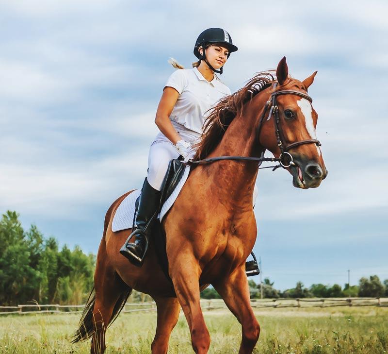 Mulher andando a cavalo
