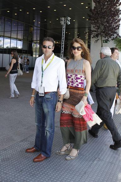 Raúl González y Mamen Sanz, testigos de la victoria de Roger Federer en el Masters 1000 de Madrid