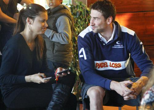 Primera aparición pública del baloncestista del Real Madrid Marco Jaric y su mujer, la 'top model' Adriana Lima, en Madrid