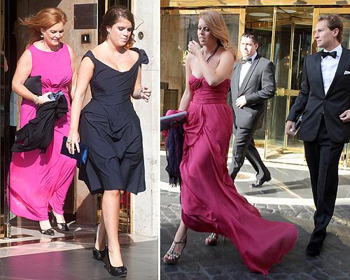 Sarah Ferguson ea princesa Beatrice e Eugenie no casamento de Petra Ecclestone.