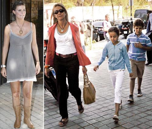 La infanta Elena asiste con sus hijos a la multitudinaria fiesta de cumpleaños de su prima María Zurita