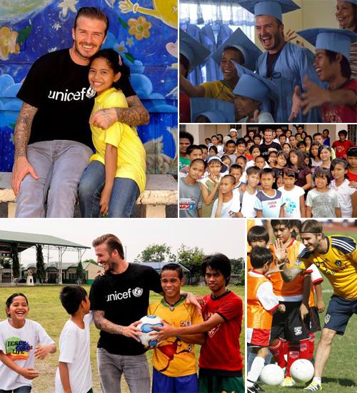 David Beckham, todo amor con los niños en Filipinas mientras Victoria vuelve a casa con la pequeña Harper