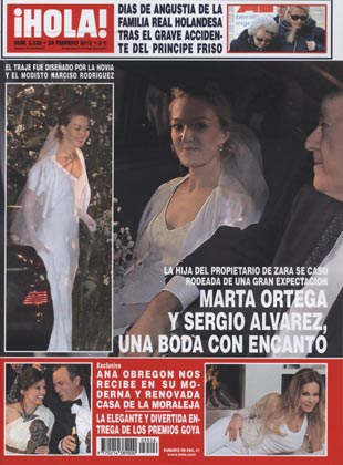 En ¡HOLA!: Marta Ortega y Sergio Álvarez, una boda con encanto