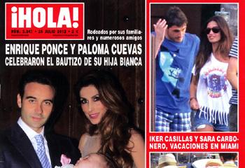 En ¡HOLA!: Enrique Ponce y Paloma Cuevas celebraron el bautizo de su hija Bianca