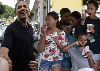 Obama, de nuevo con su familia en