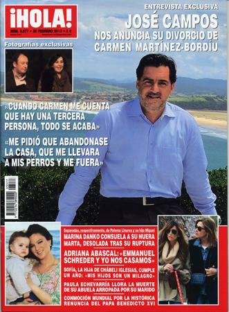 Entrevista exclusiva en ¡HOLA!: José Campos nos anuncia su divorcio de Carmen Martínez-Bordíu