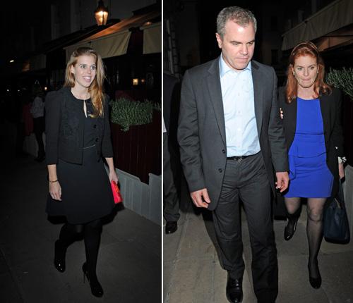 Pippa y James Middleton, con sus respectivas parejas, disfrutan de la noche londinense junto a Sarah Ferguson y la princesa Beatriz