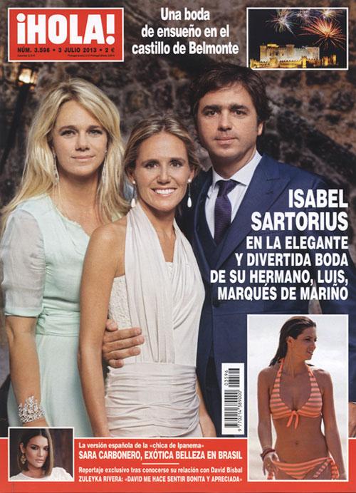 La revista ¡HOLA! de esta semana destaca en portada la elegante y divertida boda de Luis Sartorius, marqués de Mariño y hermano de Isabel Sartorius, y Bárbara Pérez Manzarbeitia