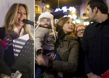 Norma Duval, pregonera en Alcobendas ante la atenta mirada de su nieto, Izan