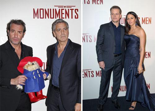 Inés Sastre, rodeada de estrellas en el estreno de 'The Monuments Men' en París