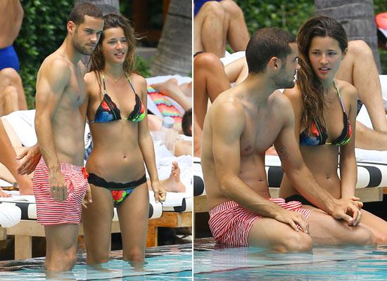 El refrescante baño de Malena Costa y Mario Suárez en Miami
