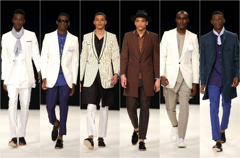 desfile de Spencer Hart, que también investiga las prendas híbridas,  como las americanas de largos inesperados, las camisas sin cuello o los  zapatos de