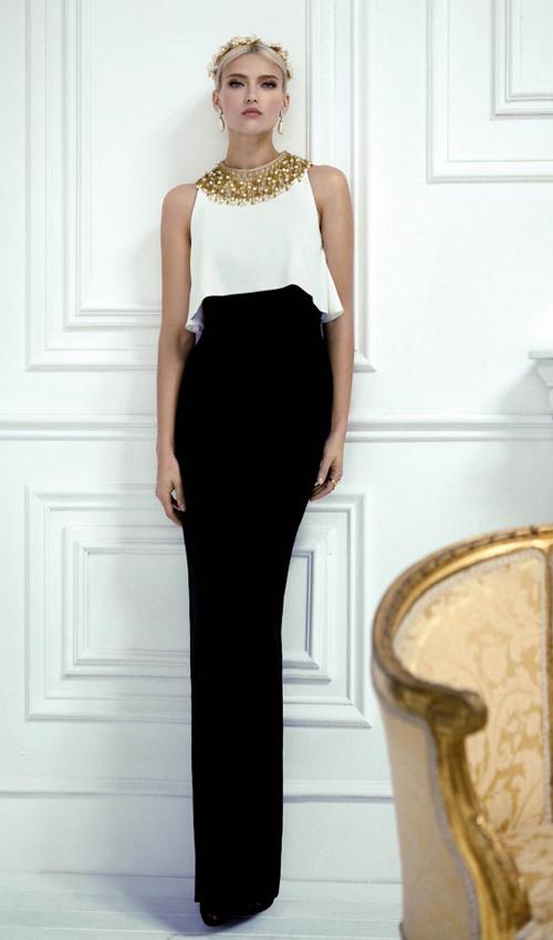 Vestidos blanco y negro de gala