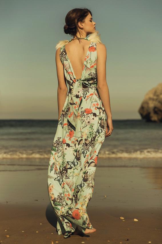 Vestido estampado largo boda