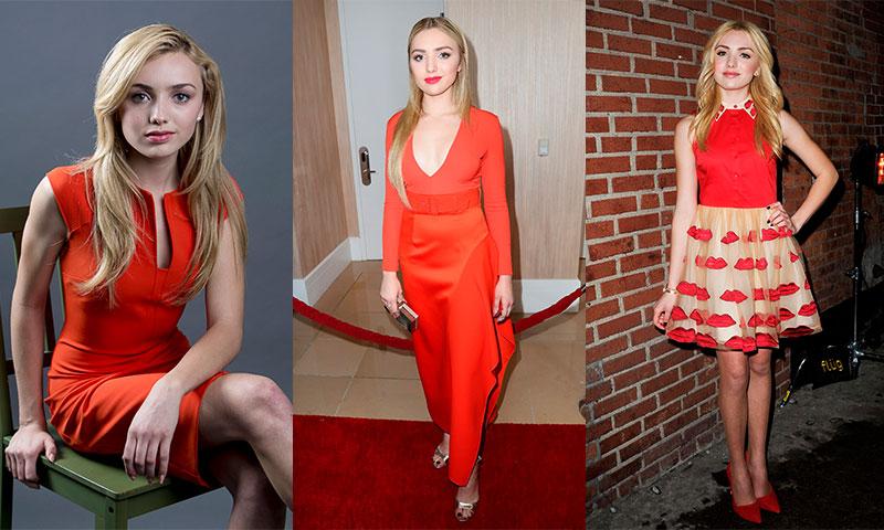Los siete 'looks' de Peyton List que harán que quieras vestirte con el color de la pasión