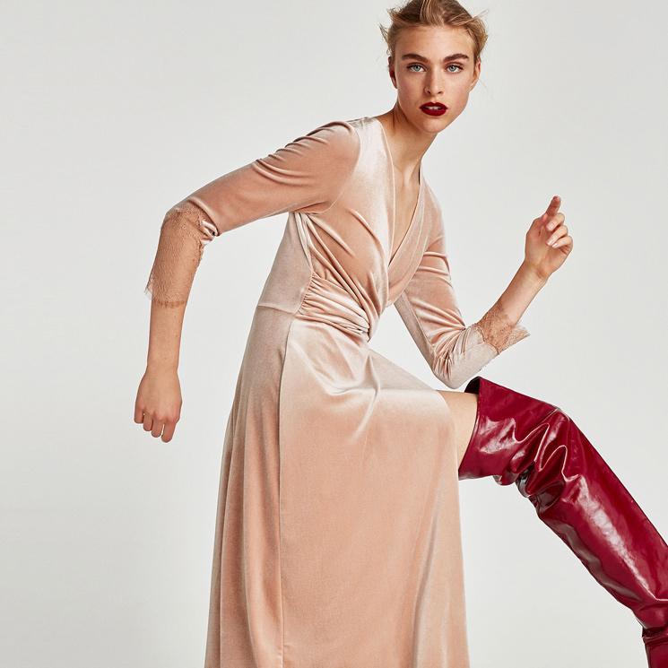 264eb9b037 Vestidos Zara de terciopelo para  looks  de otoño cálidos