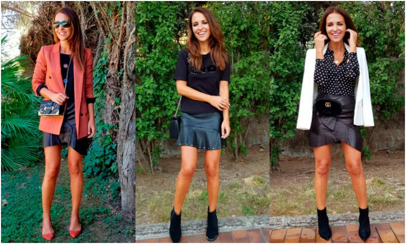 Paula Echevarría y los 3 motivos por los que necesitas una (mini)falda de piel negra