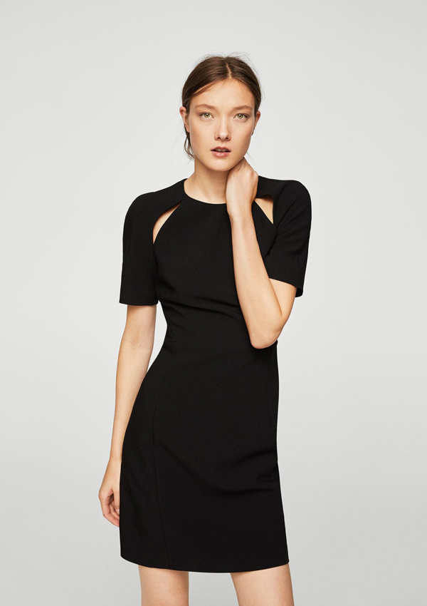 Vestido negro manga larga mango
