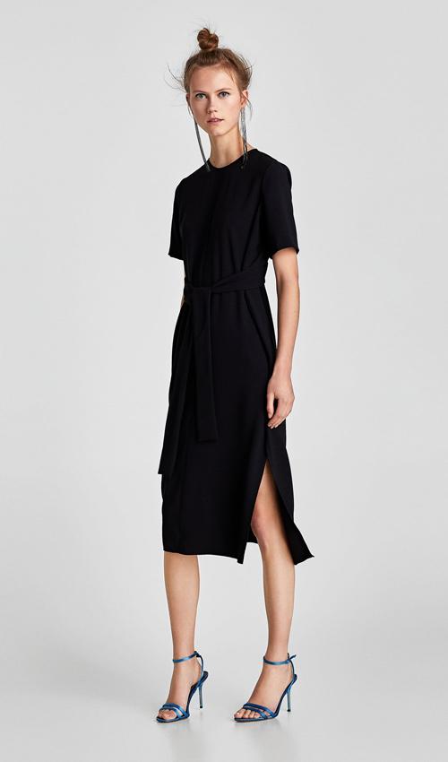 vestido zara negro aberturas laterales manga larga