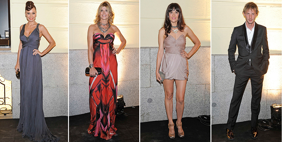 de izquierda a derecha juncal rivero con un elegante vestido de noche y un llamativo recogido arancha de benito que eligi un look estampado y u