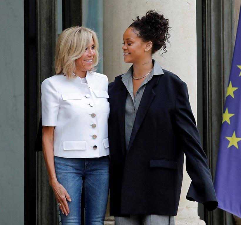 Brigitte Macron y Rihanna, dos formas de entender la moda, 'cara a cara' en el Elíseo