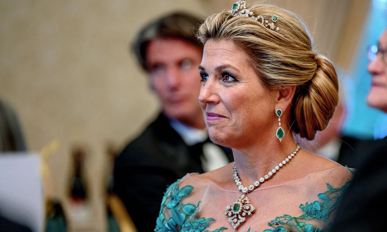 El romántico look de gala con el que Máxima de Holanda culminó un día de éxitos en Dublín