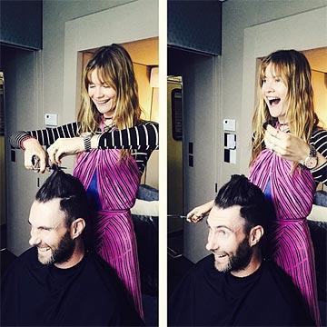 Behati 'Manostijeras' le cambia el 'look' a su marido, Adam Levine