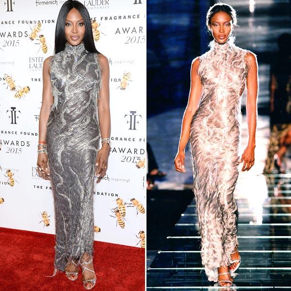 Naomi Campbell, ajena al paso del tiempo, repite vestido de Versace 18 años después de llevarlo por 1ª vez