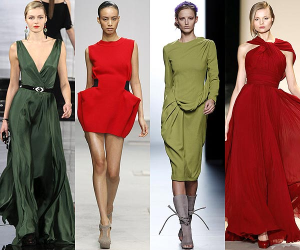 Vestidos verde rojo