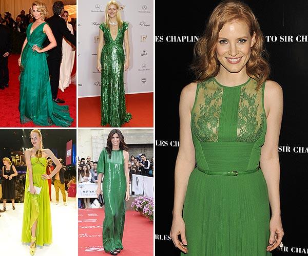 'Celebrity Style': Jessica Chastain, Elsa Pataky, Karolina Kurkova... de fiesta en color verde
