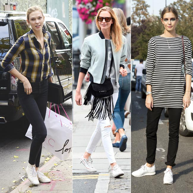 Zapatillas blancas y looks casual