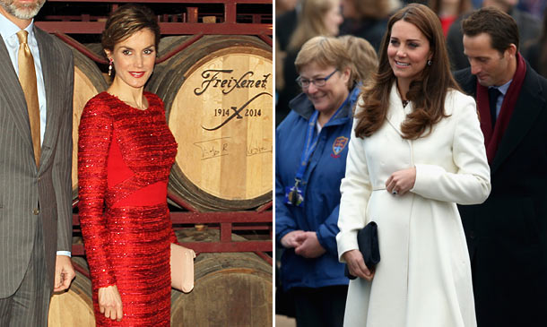El rojo pasión de doña Letizia y el blanco radiante de la Duquesa de Cambridge