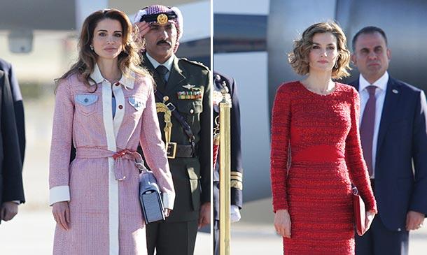 ¡Encuentro de estilismos 'reales'!: Doña Letizia y Rania de Jordania lucen sus mejores 'looks' en Madrid