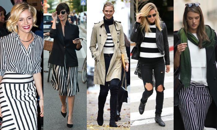 Combinar vestido rayas blancas y negras