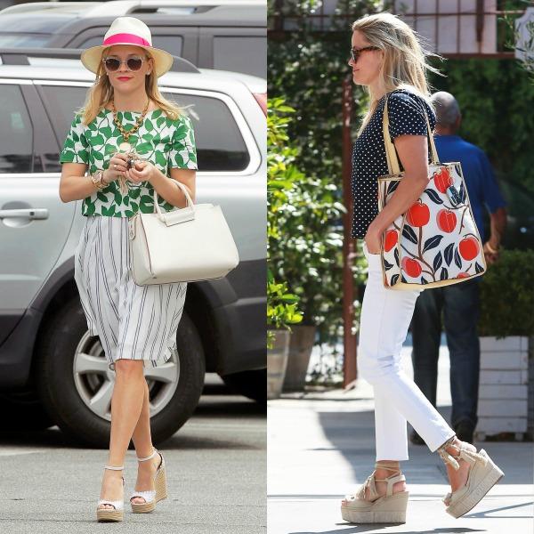 Otra que en verano no se baja de las alpragatas con taconazo es Reese Witherspoon, que incorpora tanto tacones de yute como plataformas y cuñas a su