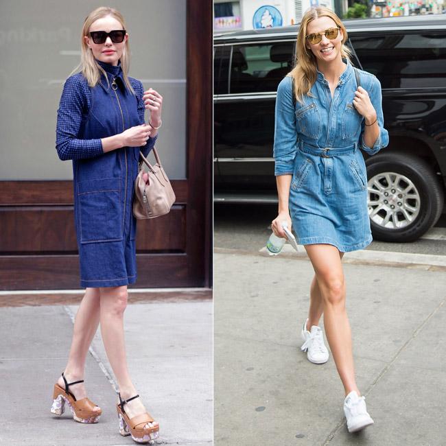 Zapatos para un vestido camisero azul