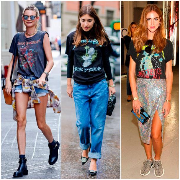 3d662ac8c Guía de estilo  Cómo vestir una camiseta  rock-band  en 10  looks ...