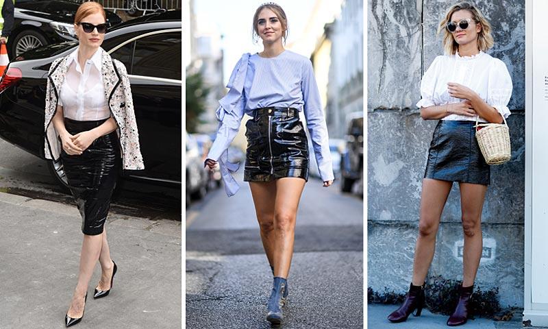 Las 'fashionistas' lo tienen claro: Esta temporada, ¡necesitas una (mini)falda acharolada!