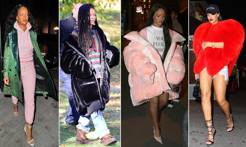 ¿Excéntrica o 'trendy'? Así es la (extensísima) colección de abrigos de Rihanna
