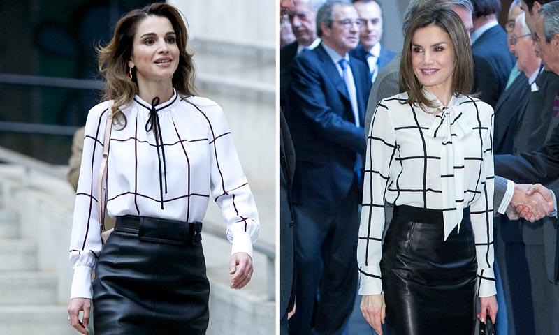 La reina Letizia y su 'look' estilo Rania de Jordania: Encuentra las diferencias (y viste como ellas)