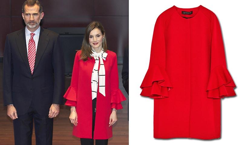 La reina Letizia y su abrigo rojo de Zara: otro éxito de ventas